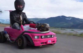 Barbie car with a dirt bike engine