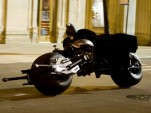 Batman astride the Batpod in the 'The Dark Knight Rises'