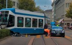 Bentley Continental GT crashes into tram in Zurich, wins