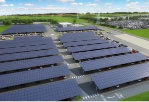 Bentley solar-powered parking lot at Crewe, UK headquarters