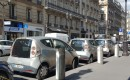 Bollore BlueCars recharging at Paris curb for the Autolib electric-car sharing service, Sep 2016