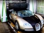 Bugatti Veyron at an auto wash