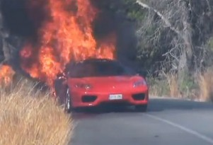 Burning Ferrari 360 Modena owned by Valencia soccer player Ever Banega