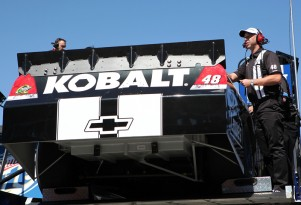 Chad Knaus unloads the No. 48 car at Las Vegas - NASCAR photo