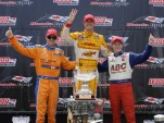 Charlie Kimball, Ryan Hunter-Reay, Mike Conway on the Toronto podium - IZOD Indycar Series LAT USA
