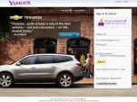 Chevrolet ad on the Yahoo log-in page