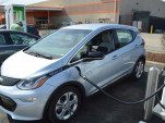 Chevrolet Bolt charging at Electrify America 350 kw charger at Home Depot in Chicopee, Mass.