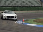 Chris Harris demonstrates oversteer in the Mercedes-Benz SLS AMG GT