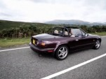 Chris Harris, sans disguise, driving an MX-5