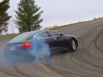 Consumer Reports drifts the Telsa Model S (video screengrab)