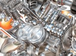Cutaway drawing showing the pistons of GM's LS9 engine