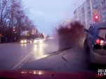 Dashcam footage shows result of a burst water main in Russia
