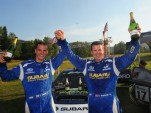 David Higgins and Craig Drew celebrate the 2012 Rally America Championship - image Lars Gange
