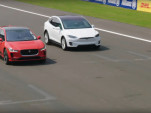 Drag race between 2019 Jaguar I-Pace and Tesla Model X 75D electric cars  [video: Jaguar]