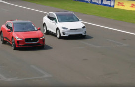 Drag race between 2019 Jaguar I-Pace and Tesla Model X 75D electric cars  [video: Jaguar]