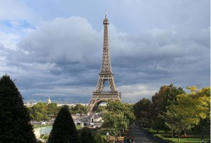 Eiffel Tower in Paris, France (photo by Rijin, via Wikimedia Commons)