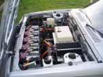 Engine compartment after conversion to electric vehicle, from Gavin Shoebridge