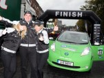 ESB ecars Nissan Leaf Cannonball team at the finish