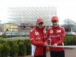 Felipe Massa and Fernando Alonso help inaugurate new sculpture
