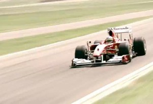 Fernando Alonso in a Ferrari F1 car at Fiorano