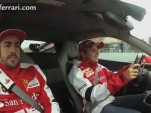 Fernando Alonso looks nervous as Felipe Massa laps the Circuit de Catalunya