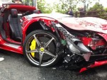 Ferrari 458 Italia crashes in the UK