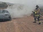 Ferrari 599 burns by the side of a road in Arizona