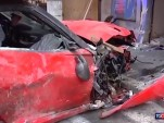 Ferrari 599 GT0 crashed by Valet in Rome, Italy - Image via Tgcom24
