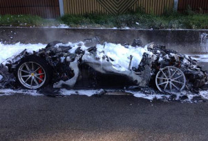 Ferrari F12 tdf that succumbed to fire near Neuwied, Germany - Image via Feuerwehr/DRK