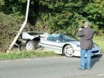 Ferrari F50 that crashed in the U.K. (Image via Western Morning News)