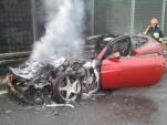 Ferrari FF that caught on fire in Poland - Image courtesy Kontakt24