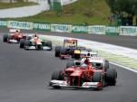 Ferrari's Fernando Alonso leads a pack of drivers at the 2012 Formula 1 Brazilian Grand Prix