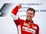 Ferrari's Sebastian Vettel after winning the 2015 Formula One Malaysian Grand Prix