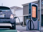 Fiat 500e at Volta Industries charging station