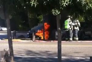 Fisker Karma on fire in Woodside, California