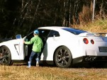 Five-year-old kid hoons a Nissan GT-R