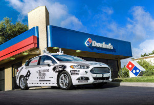 Self-driving Ford Fusion Hybrid for Domino's pizza delivery
