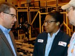 Ford's Joe Hinrichs talks with workers