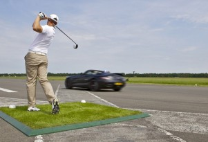Former F1 ace David Coulthard and Golfer Jake Shepherd in SLS AMG world record attempt