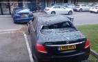 Tesla Model S mangles Mercedes E-Class, British dealership in crash (video)