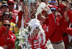 Franchitti celebrates his third Indy 500 win - Photo courtesy IZOD IndyCar Series/LAT USA