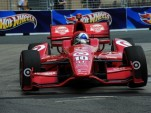 Franchitti lifts a front wheel en route to Toronto's pole - Firestone Racing photo
