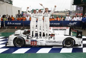 From left to right: Nick Tandy, Earl Bamber & Nico Huelkenberg after 2015 24 Hours of Le Mans win