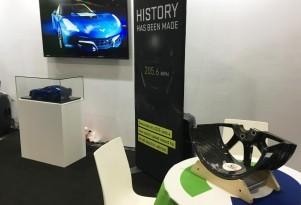 Genovation displays Carbon Revolution carbon fiber wheel at 2016 Big Boys Toys show