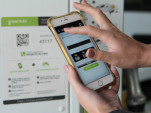 Greenlots electric-car charging mobile app for use at charging station