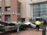 Idaho man does donuts and crashes into courthouse - Screen Capture from Idaho Statesman