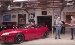 Jay Leno and Cody Walker with a 1993 Toyota Supra
