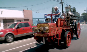 Jay Leno drives a 1911 Christie Fire Engine