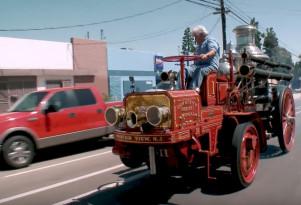 Jay Leno drives a 1911 Christie Fire Engine