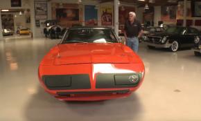 Jay Leno invites Jeff Dunham and his 1970 Plymouth Superbird into the garage
